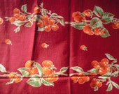 Vintage Table Cloth FRUITY 1940s or 1950s Tablecoth Measurements are 49 inches by 50 inches Cherry and Strawberry Print