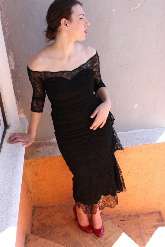 RESERVED 1940s Black Lace Cocktail Dress