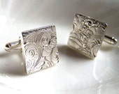 Silver Cufflinks - Birthday - Valentine - Wedding - Artisan Silver Jewelry