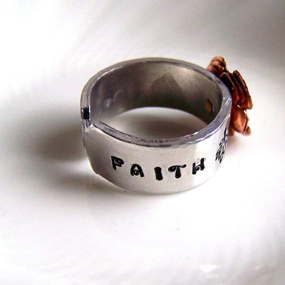 Inspirational  Ring - Trust Faith Design - Artisan Silver Jewelry