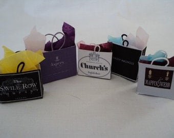 Dolls House Miniatures- 1/12th Shopping Bags - LONDON - set 1