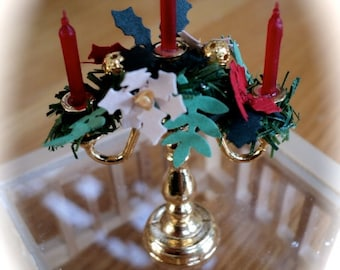 Christmas Candleabra - 1/12th POINSETTIA / HOLLY