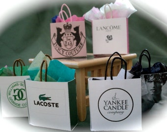 Dolls House Miniatures- Shopping Bags set 8