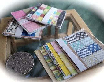Dolls House Miniatures - 1/12th pack of assorted scrapbook papers x1