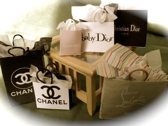 Dolls House Miniatures 1 12th Designer Shopping Bags Set 16