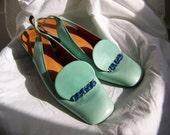 Vintage Christian Dior Shoes, Turquoise Aqua Leather