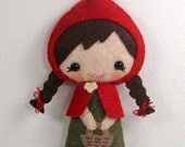Sale-PDF-epattern-Little Red Riding Hood, PDF ePattern-Hand sewn doll, Fairy Tale Felt Doll PDF, Little Red Riding Hood