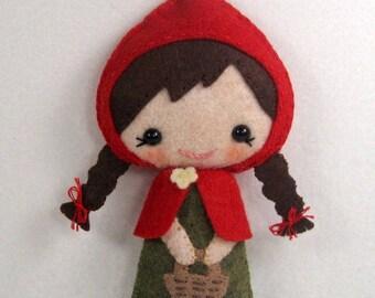 Sale-PDF-epattern-Little Red Riding Hood, PDF ePattern-Hand sewn doll, Fairy Tale Felt Doll PDF, Little Red Riding Hood