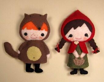 SALE-PDF ePattern-2 Fairy Tale Felt Plushies Combo, Little Red Riding Hood, Fairy Tale felt doll, Big Bad wolf, felt mascot