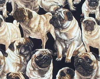 Pug Dog Fabric Pugs Only Dog Print Michael Miller Novelty Fabric 1 yard