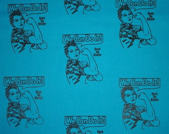 Rosie the Riveter Fabric All Cotton Fabric by Hot Diggity Dog Fabric 1 yd