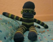 Green, Brown, and Blue Striped Miniature Sock Monkey
