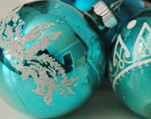Vintage Christmas Ornaments in Blue - Flocked with Beads