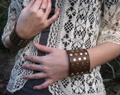 Adjustable Studded Leather Wrist Cuff