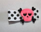 Pink Skull and Crossbones Hair Clippie-non slip
