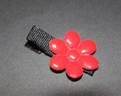 Stocking Stuffer Ready to Ship Red Patent Flower Hair Clip/Baby, Toddler, Girl/non slip