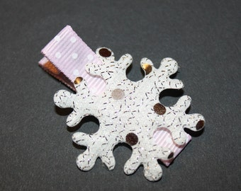 Silver Snowflake on Pink Alligator Hair CLippie/non slip