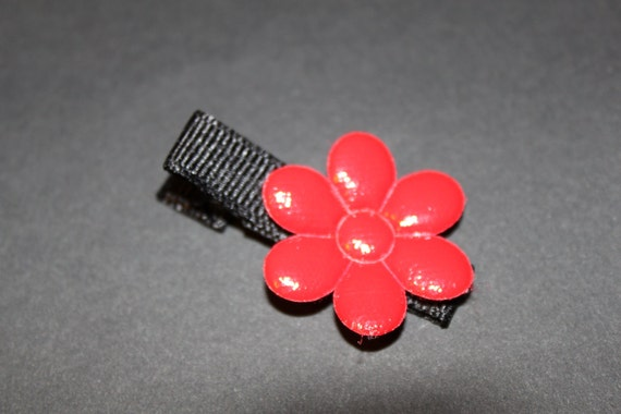 Stocking Stuffer Ready to Ship Red Patent Flower Hair Clip/Baby, Toddler, Girl/non slip