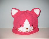 Teen/Adult Knit Kitty Hat (Pink)