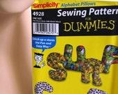 UNCUT Simplicity Pattern 4928 ALPHABET PILLOWS Craft Sewing