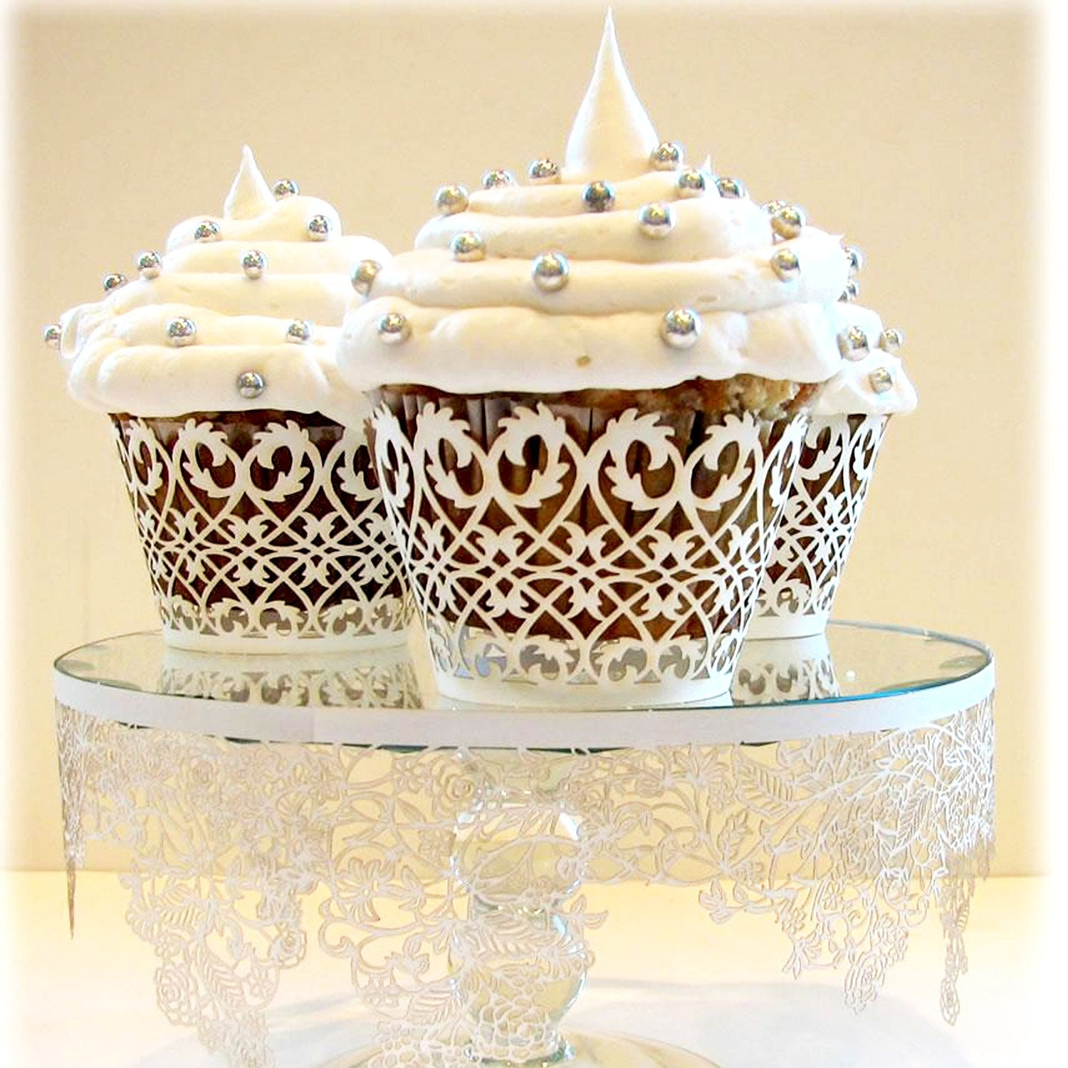 50 MINI Lace Cupcake / Muffin Wrappers Liner WHITE or by ...