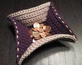 Purple and Tan Crochet Bowl