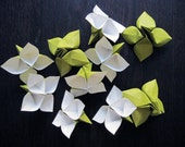 Origami Flowers - Large - White and Sage Green - Set of 10