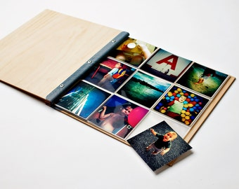 Instagram Photo Album. Wood Wedding Album. Wedding Scrapbook. Engagement Gift. Holiday Album | 4x4