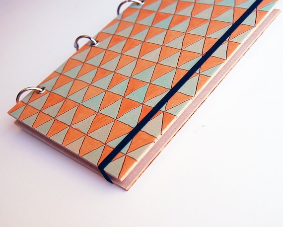orange & aqua triangle 2012 diary // hand painted geometric