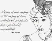 Jane Austen Inspired Original Drawing - Good Company