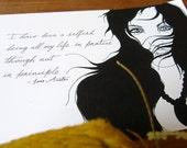 Jane Austen Inspired Original Drawing - Selfish Being. 8 x 11cm illustration.