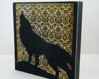 The Lone Wolf on wood panel Halloween decor