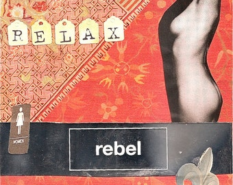 Relax rebel, Red series, Original collage Framed