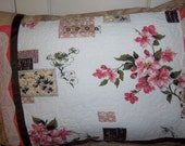 Vintage Peach Blossom Barkcloth Pillow By Dreamy Vintage Sheets on ETSY