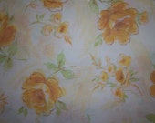 Vintage Fabric Bed Sheet Fat Quarter Watercolor Yellow Roses