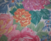 Vintage Fabric Bed Sheet Fat Quarter Burst of Flowers