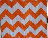 Modern Chevron Baby Quilt in Mango and White by Dreamy Vintage Sheets on Etsy