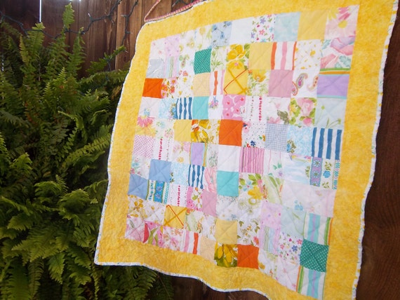 "Vintage Bed Sheet Baby Quilt  ""You Are My Sunshine"" by Dreamy Vintage Sheets on Etsy"