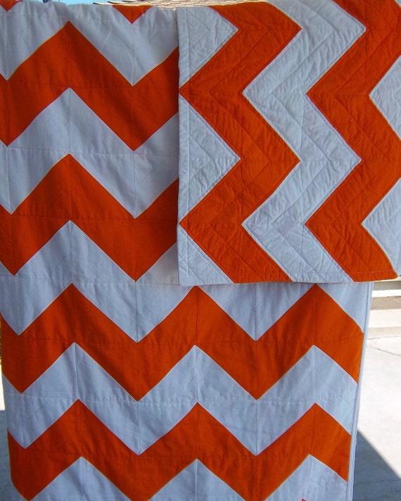 Custom Order for Belinda/Orange and White Chevron Quilt by Dreamy Vintage Sheets on Etsy