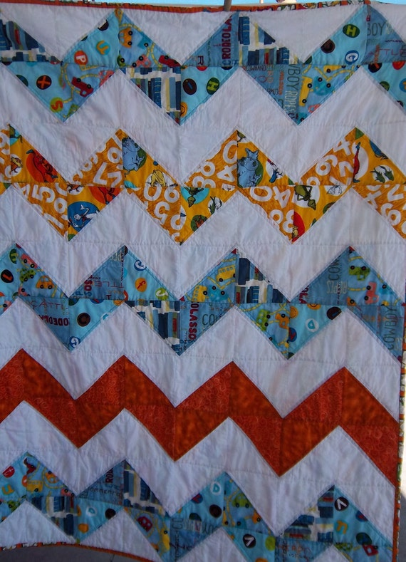 Modern Chevron Baby Boy Quilt in Dr. Suess Fun by Dreamy Vintage ...