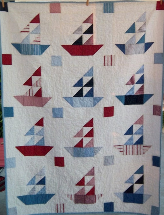 Dreamy Americana Sailboat Quilt by Dreamy Vintage Sheets on Etsy