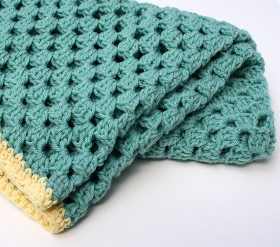 Teal Green and Butter Yellow Crocheted Blanket Afghan