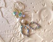 Vintage AB Rhinestone and AB Crystal Earrings