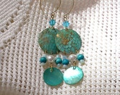 Vintage Turquoise Shell Chandelier Earrings