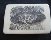 Day of the Dead Skeleton Lady buckle