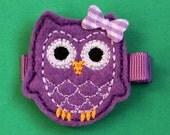 Purple Owl Felt Hair Clip - No Slip Grip