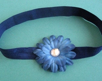 Navy Blue Headband with Blue Crystal Daisy - Baby, Toddler, Child, Teen, Adult