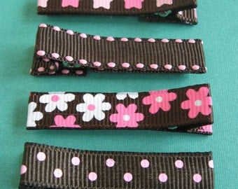 Brown and Pink Hair Clips - No Slip Grip
