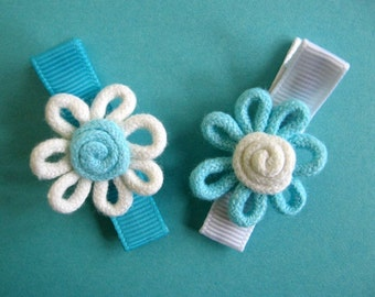 Turquoise Hair Clips - Rope Flower Hair Clips - No Slip Grip