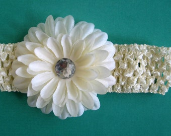 Boutique Ivory Crochet Headband with Large Crystal Gerbera Daisy - Infant to Adult